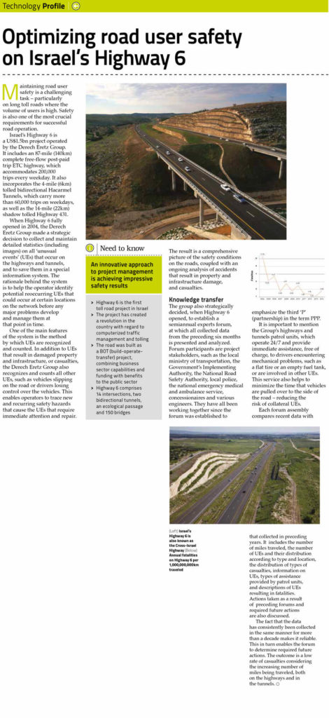 OPTIMIZING ROAD USER SAFETY ON ISRAEL'S HIGHWAY 6 Full Article